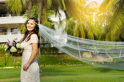 Asian bride. At outdoor in a morning Stock Images
