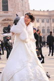 Asian bride with pigeon in milan Stock Image