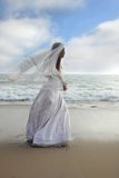 Asian Bride Running Along the Beach. Bride Walking Along the Beach with her Veil Blowing in the Wind Royalty Free Stock Photos