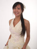 Asian bride smiling. Asian bride on white Stock Image