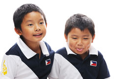 Asian Brothers. Wearing philippines flag royalty free stock images