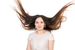 Asian brunette girl with long hair. Royalty Free Stock Photos