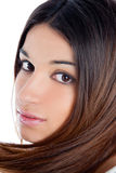 Asian brunette indian woman with long hair closeup Stock Photo