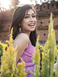 Asian Brunette Model Posing in Natural Setting Stock Images