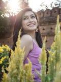 Asian Brunette Model Posing in Natural Setting Royalty Free Stock Photo