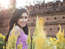 Asian Brunette Model Posing in Natural Setting Royalty Free Stock Photography