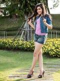 Asian Brunette Model Posing in Natural Setting Royalty Free Stock Images