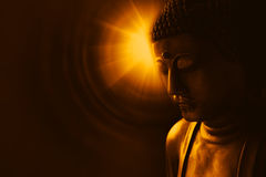 Asian buddha with light of wisdom. Buddha with light of wisdom, peacful asian buddha zen tao religion art style statue Royalty Free Stock Photography