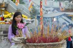 Asian Buddhist woman praying Stock Photo