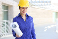 Asian Builder on Construction Site Stock Photography