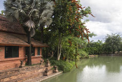 Asian building beside the lake Stock Image