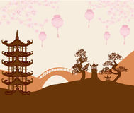 Asian buildings and cherry blossoms Stock Photography