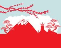Asian buildings and Mount Fuji. Fujiyama Stock Photo