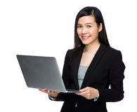 Asian buisness woman use laptop computer. Isolated on white Royalty Free Stock Images