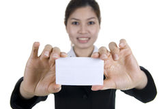 Asian buisness women with blank name card Royalty Free Stock Images