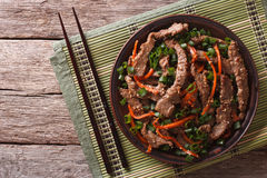Asian Bulgogi beef slices fried with sesame on plate. horizontal Royalty Free Stock Photography