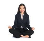 Asian business female yoga Stock Photo