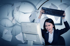 Asian business get angry because overtime work Royalty Free Stock Photo