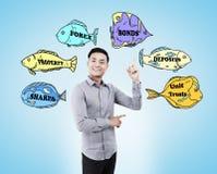 Asian business guru and stock market buzzwords Stock Images