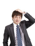 Asian business man. Embarrassment asian business man depressed Royalty Free Stock Image