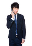 Asian business man bargain. Isolated on white background Royalty Free Stock Images