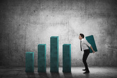 Asian business man carry heavy chart bar Stock Images