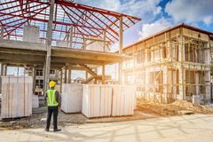Asian business man construction engineer worker Stock Photos