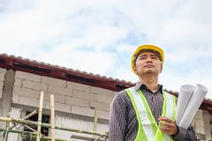 Asian business man construction engineer workers at building site Royalty Free Stock Photography