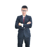 Asian Business man crossing his arms isolated on white backgroun Stock Photo