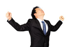 Asian business man with exciting expression Royalty Free Stock Images