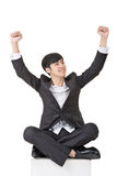 Asian business man feel free or exciting Royalty Free Stock Photos