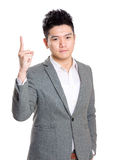 Asian business man finger pointing up Royalty Free Stock Image