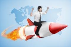 Asian business man flying ride rocket royalty free stock image