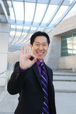 Asian Business Man (Focus on Hand) Stock Photo