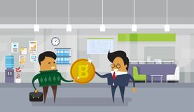 Asian Business Man Giving Employee Worker Bitcoin Coin Financial Success Cryptocurrency Mining Concept. Flat Vector Illustration Stock Image