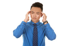 Asian business man headache Royalty Free Stock Images