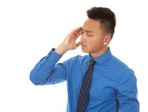 Asian business man headache Royalty Free Stock Photos