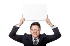 Asian business man hold a3 blank sign over head Royalty Free Stock Image