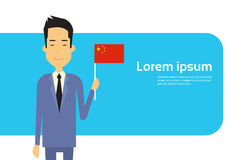 Asian Business Man Hold Japan Flag Japanese Businessman Banner With Copy Space Stock Image