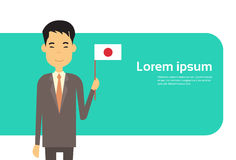 Asian Business Man Hold Japan Flag Japanese Businessman Banner With Copy Space Royalty Free Stock Images