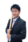 Asian Business man holding baseball bat Royalty Free Stock Photography