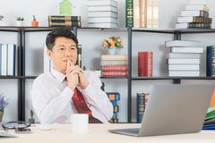 Asian business man at office royalty free stock photos