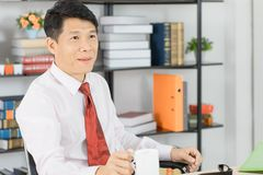 Asian business man at office royalty free stock photo