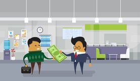 Asian Business Man Pay Salary To Employee Worker Giving Dollar Money Cash. Flat Vector Illustration Royalty Free Stock Photos