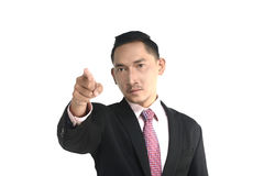Asian business man pointing something Royalty Free Stock Photos