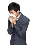 Asian business man runny nose Royalty Free Stock Image
