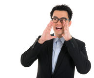Asian business man shouting Stock Photo