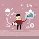 Asian Business Man Showing Finance Chart Graph Report. Vector Illustration Royalty Free Stock Images