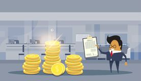 Asian Business Man Sign Successful Contract Deal Standing Over Stacks Of Dollar Coins Financial Success Concept. Flat Vector Illustration Royalty Free Stock Photography