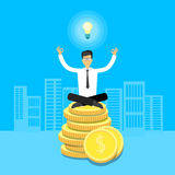 Asian Business Man Sit Yoga Lotus Pose On Coins Royalty Free Stock Images